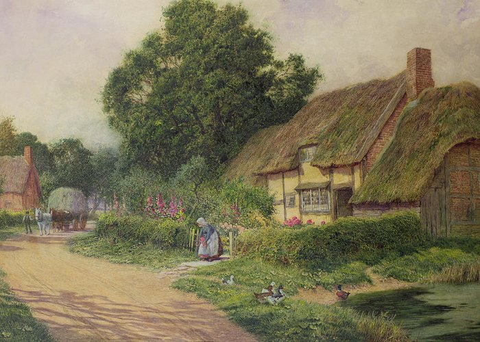 House Greeting Card featuring the painting The Coming Of The Haycart by Arthur Claude Strachan