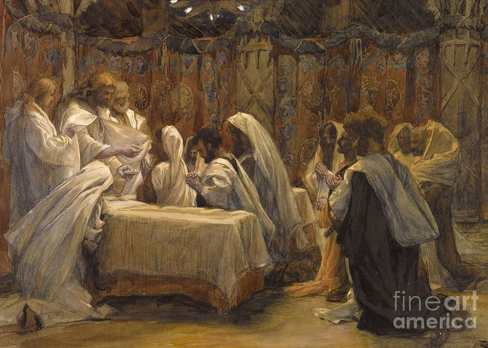 Tissot Greeting Card featuring the painting The Communion Of The Apostles by Tissot