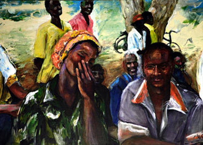 African Village Greeting Card featuring the painting The Compliment by Michelle Winnie