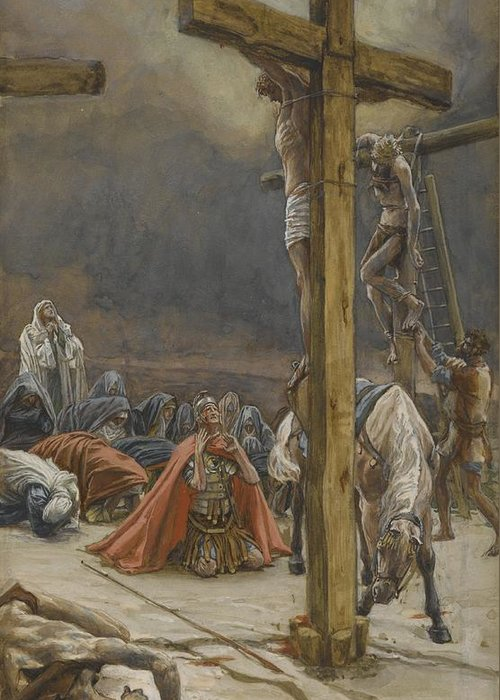 Tissot Greeting Card featuring the painting The Confession Of Saint Longinus by Tissot