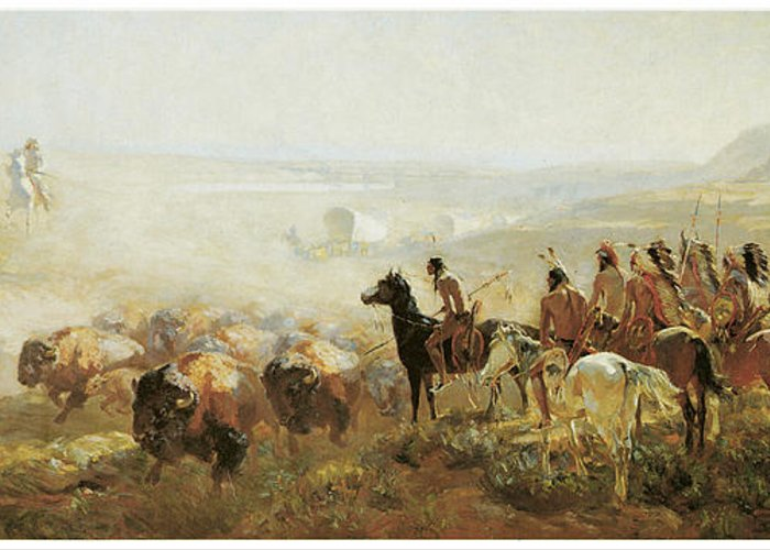 Irving R Bacon Greeting Card featuring the painting The Conquest Of The Prairie by Irving R Bacon