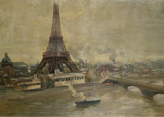 The Greeting Card featuring the painting The Construction Of The Eiffel Tower by Paul Louis Delance