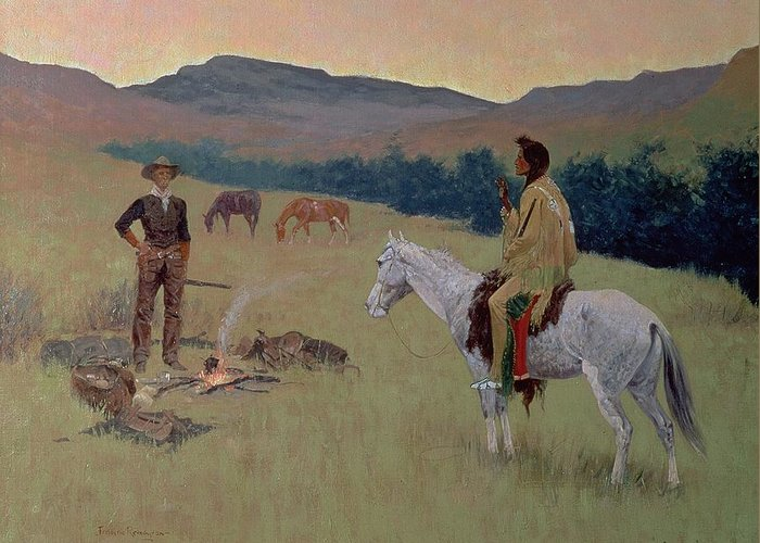 The Conversation Greeting Card featuring the painting The Conversation by Frederic Remington