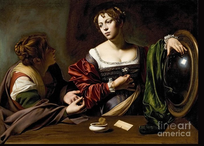 The Greeting Card featuring the painting The Conversion Of The Magdalene by Michelangelo Merisi da Caravaggio