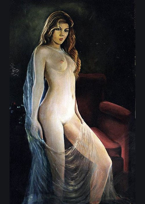 Nude Greeting Card featuring the painting The Coquette Adolescent by Vasilis Bottas