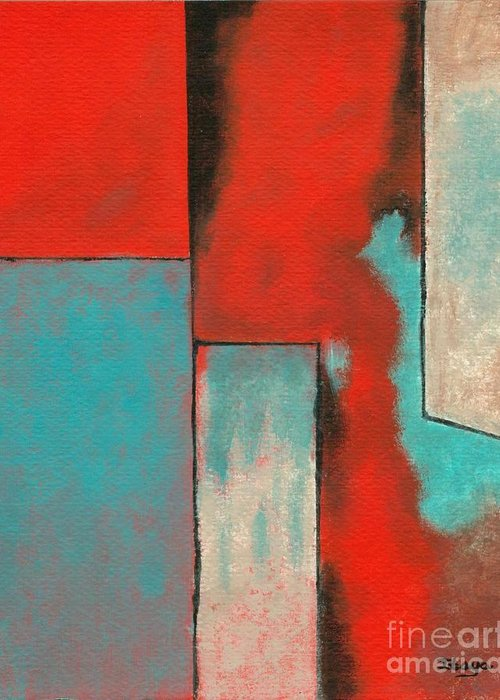 Abstract Greeting Card featuring the painting The Corners Of My Mind by Itaya Lightbourne
