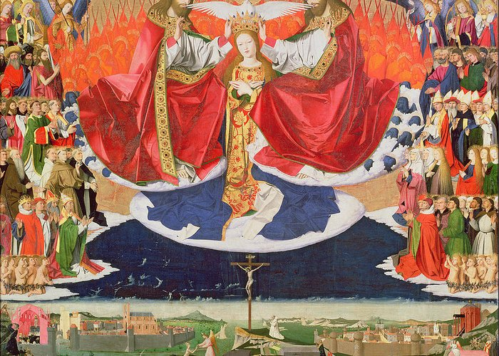 The Greeting Card featuring the painting The Coronation Of The Virgin by Enguerrand Quarton