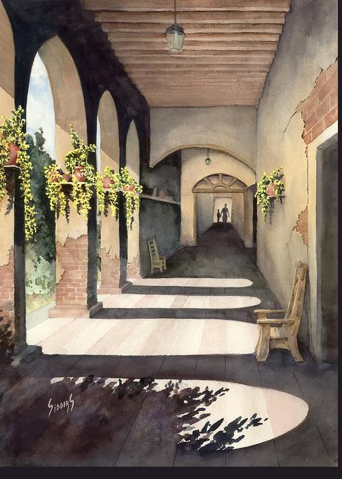 Plants Greeting Card featuring the painting The Corridor 2 by Sam Sidders