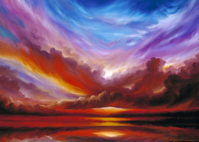 Skyscape Greeting Card featuring the painting The Cosmic Storm II by James Christopher Hill