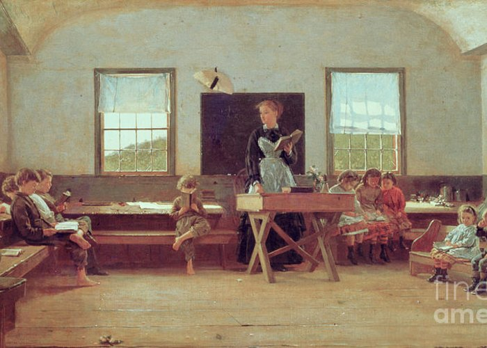 The Country School Greeting Card featuring the painting The Country School by Winslow Homer