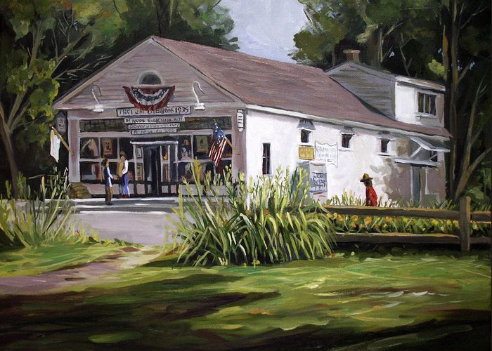Buildings Greeting Card featuring the painting The Country Store by Nancy Griswold