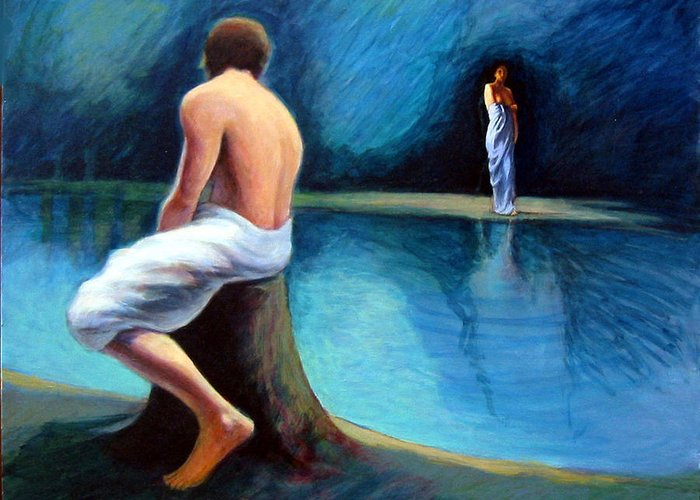 Nightscape Greeting Card featuring the painting The Couple by James LeGros