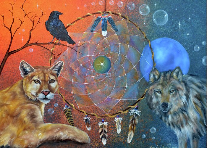 Wolf Greeting Card featuring the painting The Courage To Be Free by Sundara Fawn