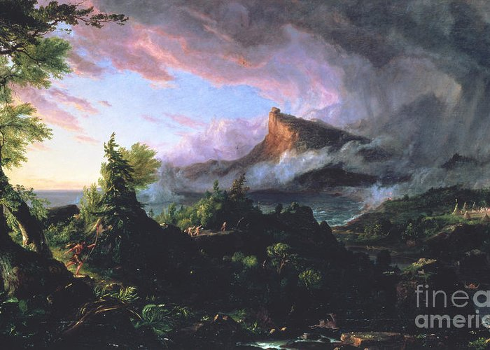 Wilderness Landscape Depicted At Sunrise Greeting Card featuring the painting The Course Of Empire - The Savage State by Thomas Cole