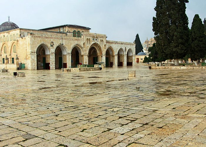 Al Aqsa Court Greeting Card featuring the photograph The Court by Munir Alawi