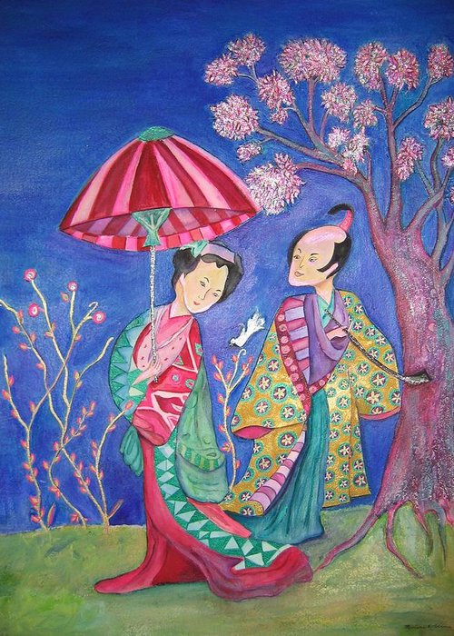 Umbrella Greeting Card featuring the painting The Courtship by Marlene Robbins