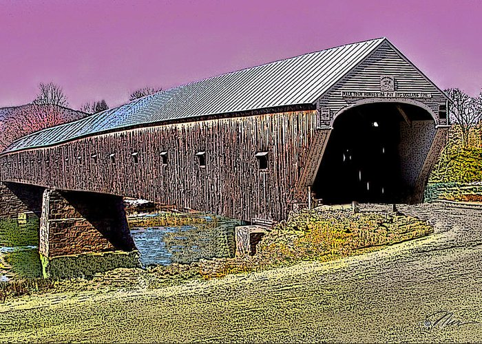 Landscape Greeting Card featuring the photograph The Covered Bridge by Nancy Griswold