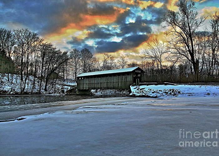 Covered Bridge Old Lumber 1870s Art Snow Winter Landscape Artistic Greeting Card featuring the photograph The Covered Bridge by Robert Pearson