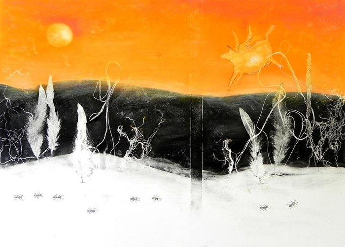 Landscape Greeting Card featuring the painting The Cow Jumped Over The Moon by Ilona Petzer
