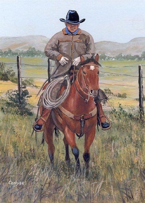 Horse Greeting Card featuring the painting The Cowboy by Peggy Conyers