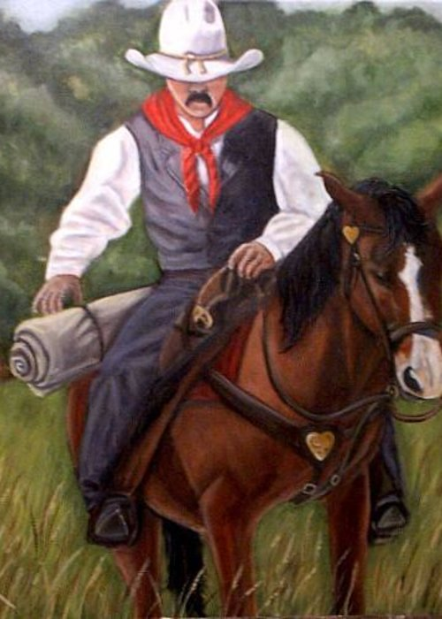 Portrait Greeting Card featuring the painting The Cowboy by Toni Berry