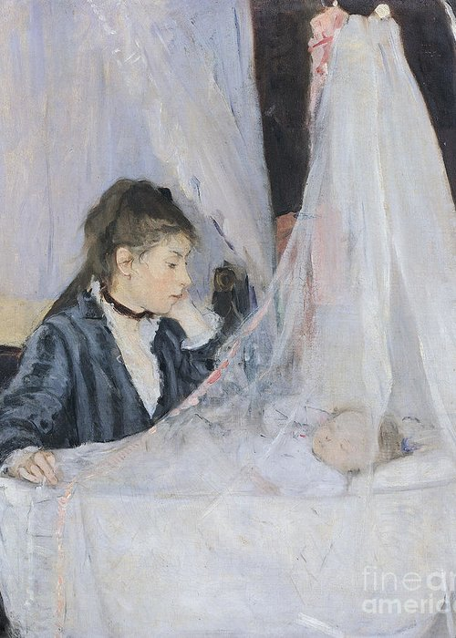 Mother Greeting Card featuring the painting The Cradle by Berthe Morisot