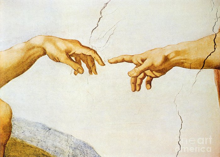 The Greeting Card featuring the painting The Creation Of Adam by Michelangelo Buonarroti