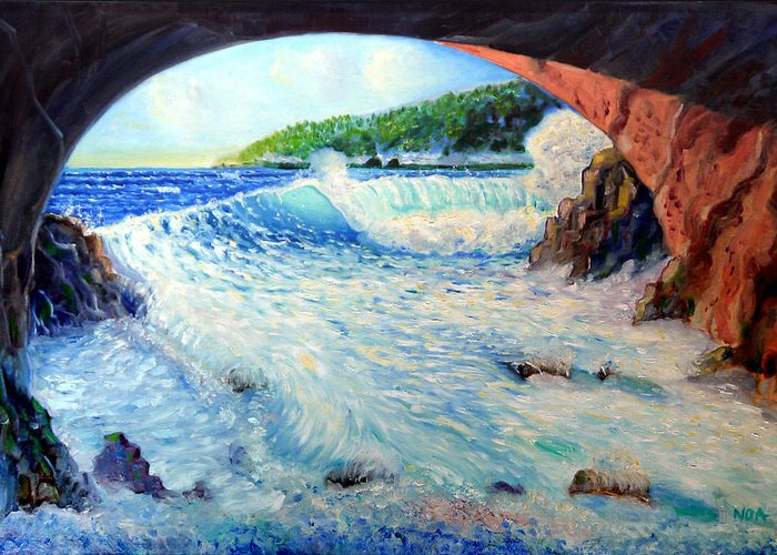 Seascape Greeting Card featuring the painting The Creek by Aymeric NOA