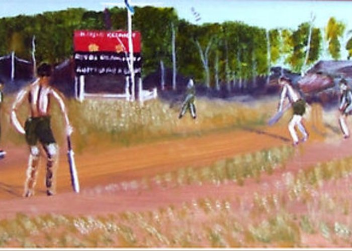 Cricket Match Vietnam Greeting Card featuring the painting The Cricket Match by Neil Trapp