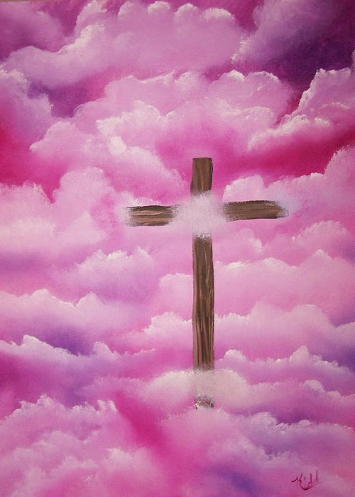 Cross Artwork Greeting Card featuring the painting The Cross Of Redemption by Laurie Kidd