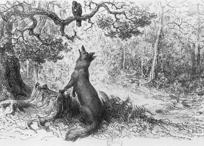 The Crow And The Fox Greeting Card featuring the drawing The Crow And The Fox by Gustave Dore