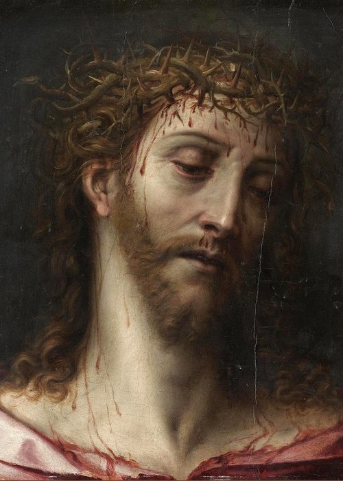 North Italian School Greeting Card featuring the painting The Crown Of Thorns by North Italian School