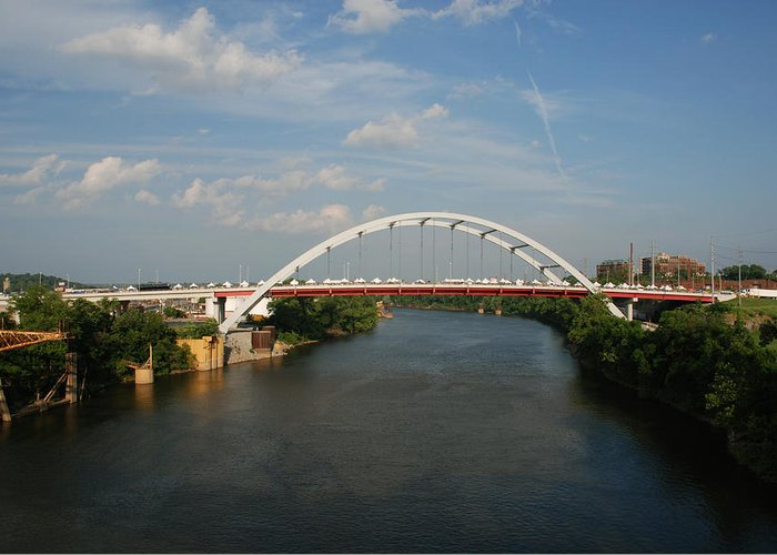 Nashville Photos Greeting Card featuring the photograph The Cumberland River In Nashville by Susanne Van Hulst