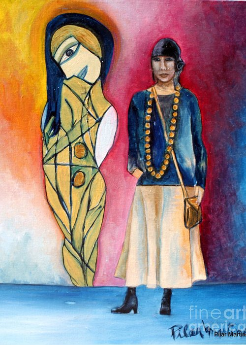 Woman Greeting Card featuring the painting The Curator by Pilar Martinez-Byrne