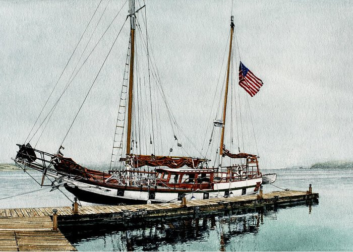 Ship Greeting Card featuring the painting The Cutty Sark In Penn Cove Fog by Perry Woodfin