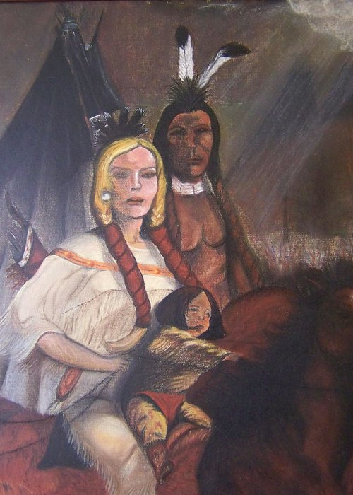 Artwork Greeting Card featuring the painting The Cynthia Ann Parker Family by Laurie Kidd