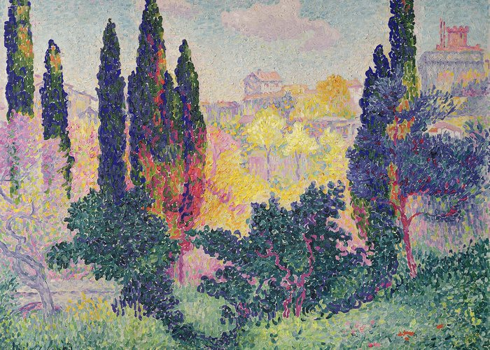 The Cypresses At Cagnes Greeting Card featuring the painting The Cypresses At Cagnes by Henri-Edmond Cross