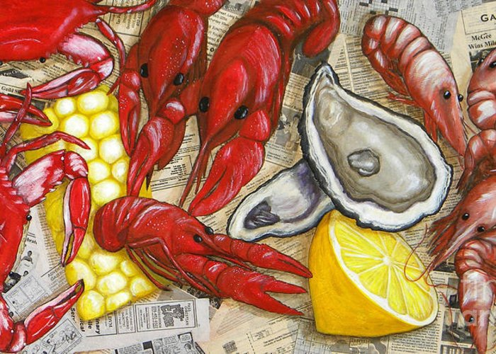 Seafood Greeting Card featuring the painting The Daily Seafood by JoAnn Wheeler