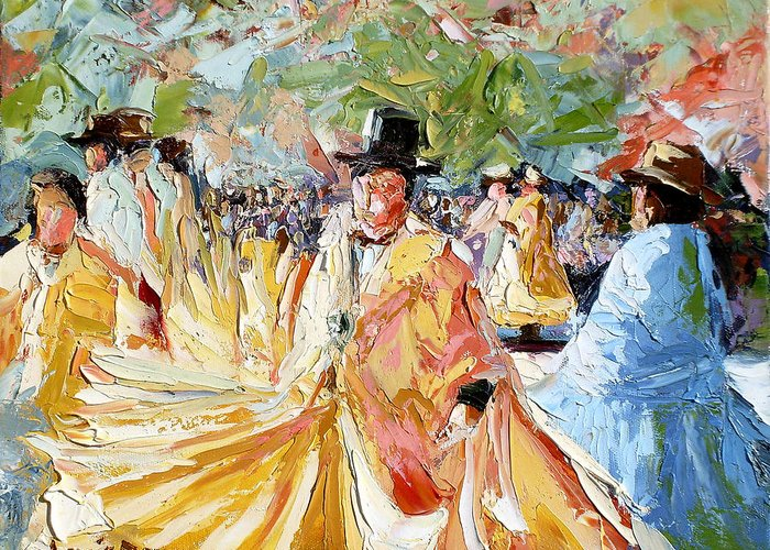La Paz Greeting Card featuring the painting The Dance At La Paz by Lewis Bowman