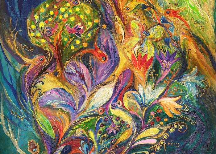 Original Greeting Card featuring the painting The Dance Of Lilies by Elena Kotliarker