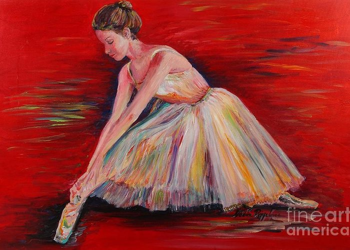 Dancer Greeting Card featuring the painting The Dancer by Nadine Rippelmeyer