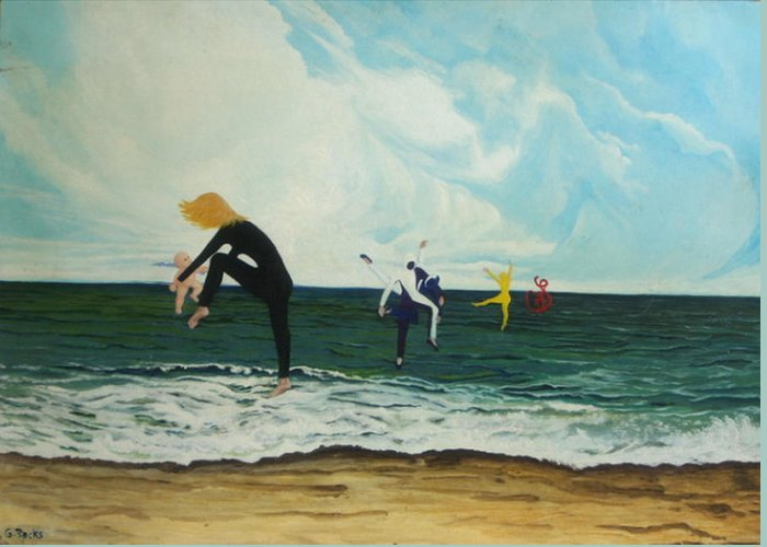 Surreal Greeting Card featuring the painting The Dancers by Georgette Backs