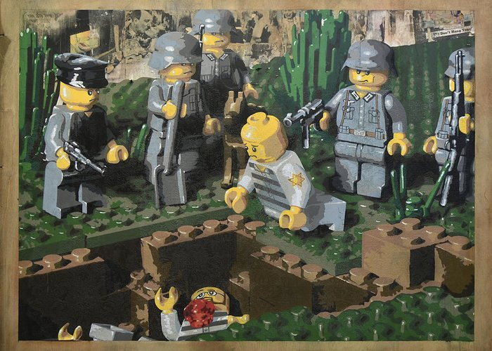 Lego Greeting Card featuring the painting The Death Of 90064 by Josh Bernstein