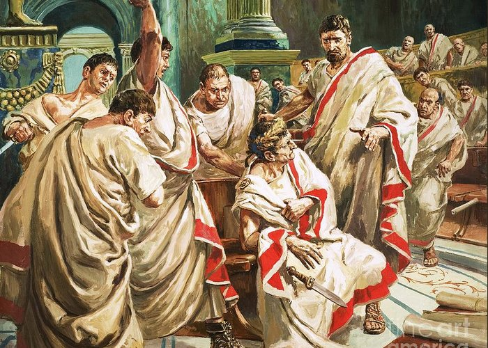 Julius Caesar; Rome; Senate; Senators; Assassination; Murder; Knife; Ides Of March Greeting Card featuring the painting The Death Of Julius Caesar by C L Doughty