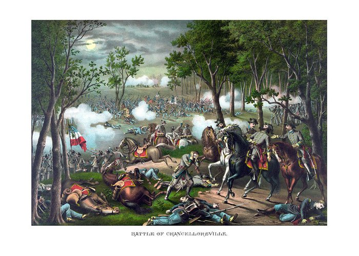 Civil War Greeting Card featuring the painting The Death Of Stonewall Jackson by War Is Hell Store