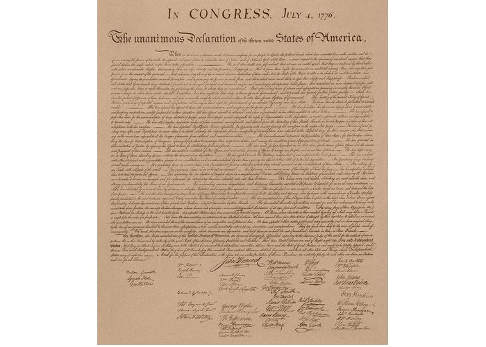 Declaration Of Independence Greeting Card featuring the mixed media The Declaration Of Independence by War Is Hell Store