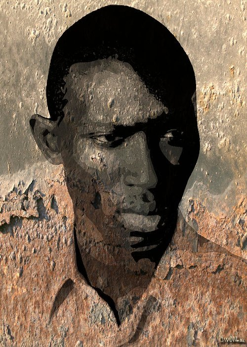 Faces Greeting Card featuring the digital art The Deconstruction Of Armando by Walter Oliver Neal