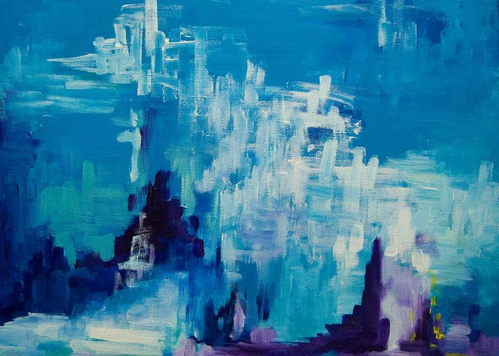 Abstract Canvas Art Greeting Card featuring the painting The Deep 2008 by Gabi Dziok-Grubb