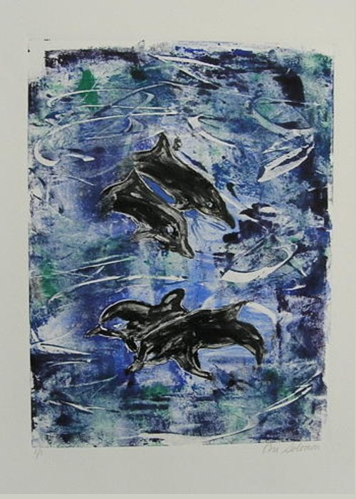 Monotype Greeting Card featuring the mixed media The Deep Sea by Cori Solomon