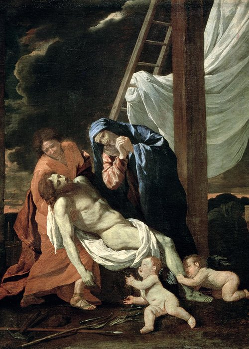 The Greeting Card featuring the painting The Deposition by Nicolas Poussin
